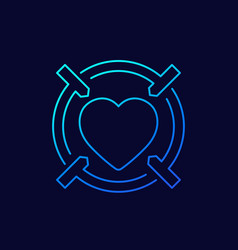 Dating app linear icon heart and crosshair vector