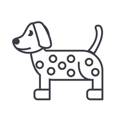 dog dalmatian line icon sign vector image