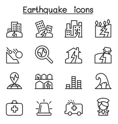 Earthquake icon set in thin line style vector