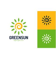 eco leaf sun logo design template sun logo vector image