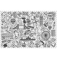 england doodle set vector image