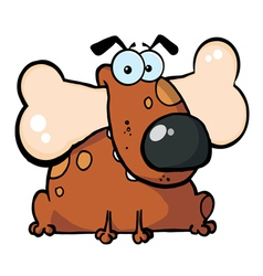 Fat Dog With Big Bone In Mouth vector image