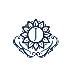 flower elegance initial j vector image