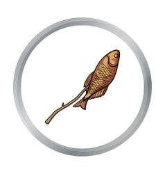 Fried fish icon in cartoon style isolated on white vector image vector image