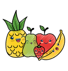 Fruits cartoon smiley vector