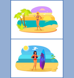 girls with cocktail surfboard vector image
