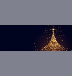 Glowing christmas tree made with sparkles design vector