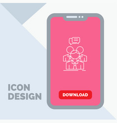 group business meeting people team line icon in vector image
