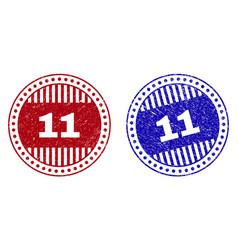 grunge 11 scratched round stamp seals vector image