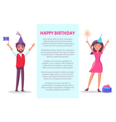 happy birthday poster man woman invitation card vector image