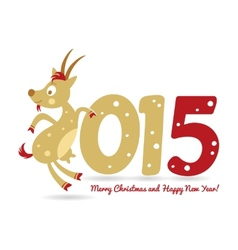 Happy New Year and goat symbol of the new year vector image