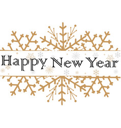 happy new year text for greeting card golden vector image