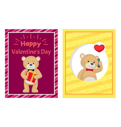 Happy valentines day posters set plush teddy toy vector
