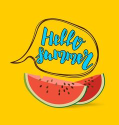 hello summer watermelon comic text bubble vector image