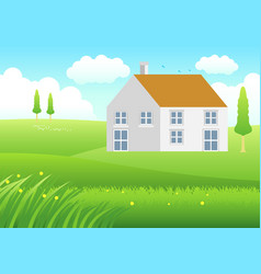 house on meadow vector image