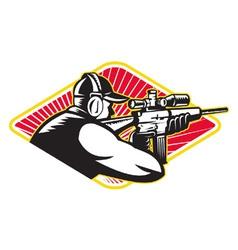 Hunter Shooter Aiming Rifle Retro vector