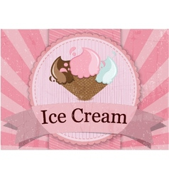Ice cream vintage style poster vector