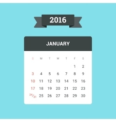 January 2016 Calendar vector image
