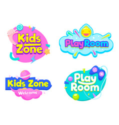 Kids zone play room label text banner sign set vector