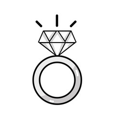 Line beauty wedding ring with diamond design vector