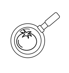 Line tomato vegetable inside skillet pan vector