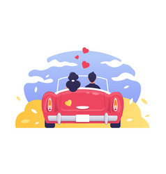 love man and woman romantic travelling car vector image