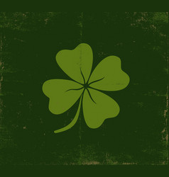 lucky clover on old dark green paper vector image