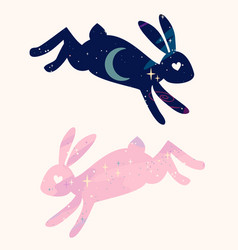 Magical fabulous bunnies are jumping star space vector