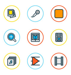 Media icons colored line set with stop magnifier vector