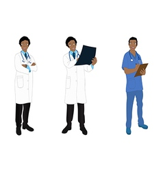 Medical Staff Man Full Body African Color vector