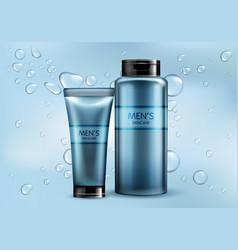 mens cosmetics products realistic mockup vector image
