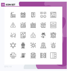 Mobile interface line set 25 pictograms add vector
