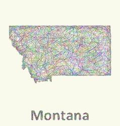 Montana line art map vector