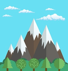 Natural landscapes of mountains and forest in a vector image