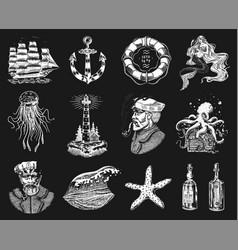 Nautical adventure set sea lighthouse mermaid vector