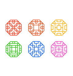 octagon chinese window frame with line pattern vector image