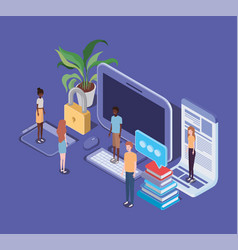 Online education with desktop and mini people vector