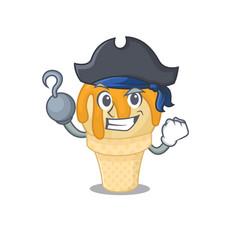 Orange ice cream cartoon design style as a pirate vector