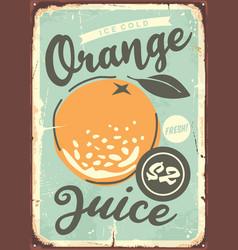 orange poster design with juicy orange vector image