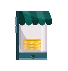 payments online smartphone market money flat icon vector image