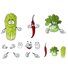 Pepper radish and cabbage cartoon vegetables vector image