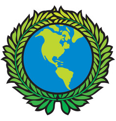 planet earth and wreath leaf design vector image