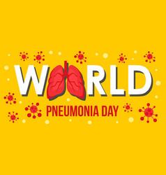 Pneumonia disease day banner horizontal flat vector