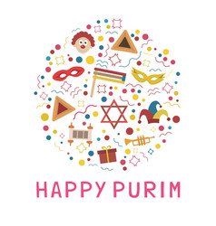 Purim holiday flat design icons set in round vector