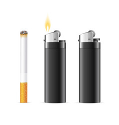 Realistic 3d detailed lighter and burning vector