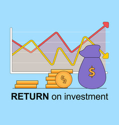 Return on investment square banner growing chart vector