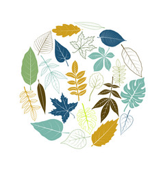 round template with tree leaves vector image