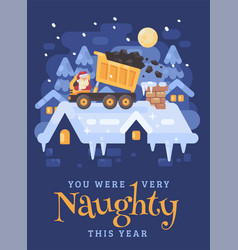 santa claus in a yellow tipper truck on a rooftop vector image