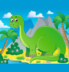 scene with dinosaur 1 vector image
