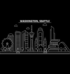 seattle silhouette skyline usa - seattle vector image